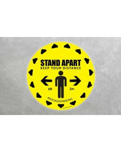 Large Social Distancing Floor Sticker Sign 500mm